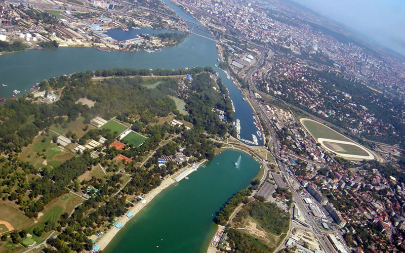 Ada Ciganlija Island from above