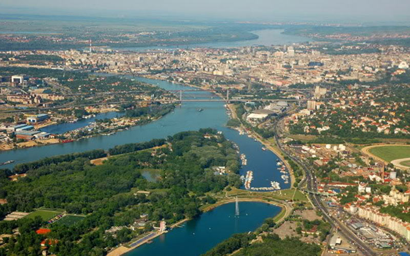 Danube and Sava river from above